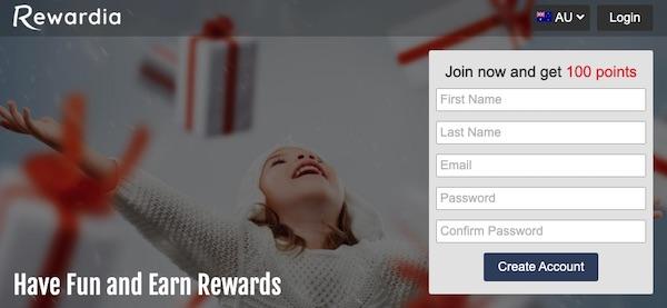Rewardia signup page