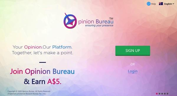 opinion bureau signup page